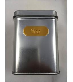Caja de te cuadrada plateado dorado