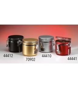 Caja redonda de cafe con cuchara rojo o dorado